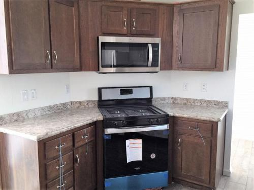 Kitchen with Space Saver Microwave