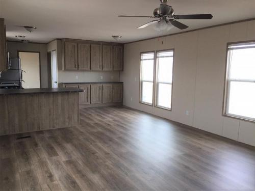 Open Living Room and Kitchen with Vinyl Flooring